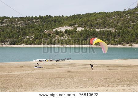 Paragliding At Landing