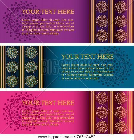 Set of colorful Indian mandala banners