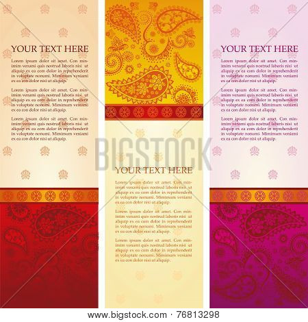 Indian saree design vertical banners