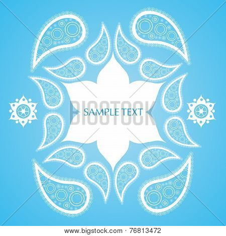 Blue and white Indian paisley background