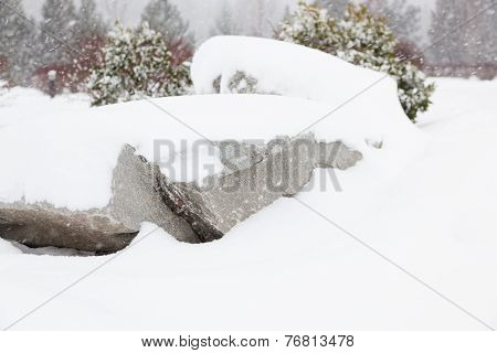 Snow Covering Large Rocks