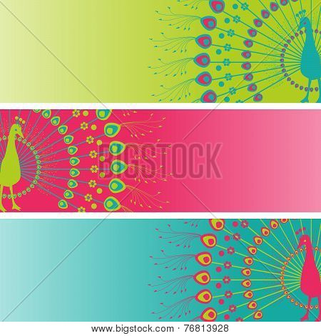Colorful henna peacock banners