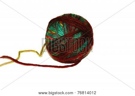Colorful ball of woollen yarn