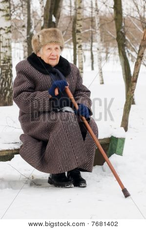 Portrait Of The Old Woman In The Winter