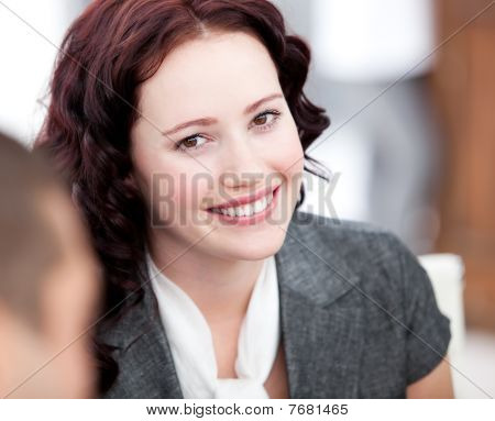 Beautiful Businesswoman Smiling At The Camera