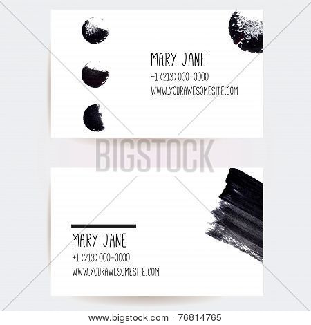 Set of two creative business card templates with minimalistic vector design. Abstract black ink brus