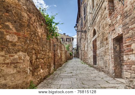 Ancient Alley In Colle Di Val D'elsa, Tuscany, Italy