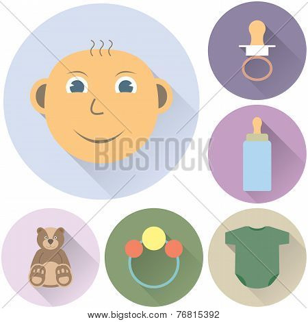 children's icons on a white background