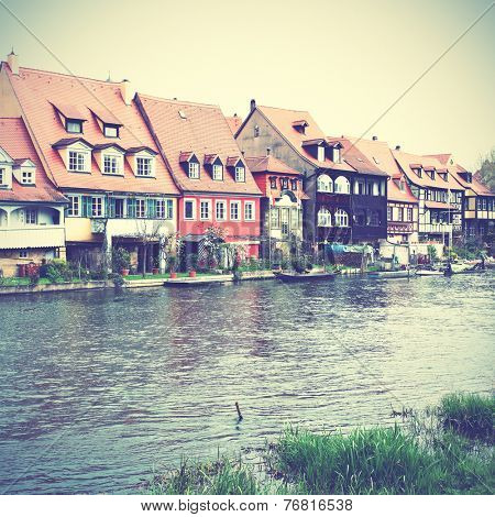 Little Venice - picturesque district on the river bank in Bamberg, Germany. Instagram style filtred image