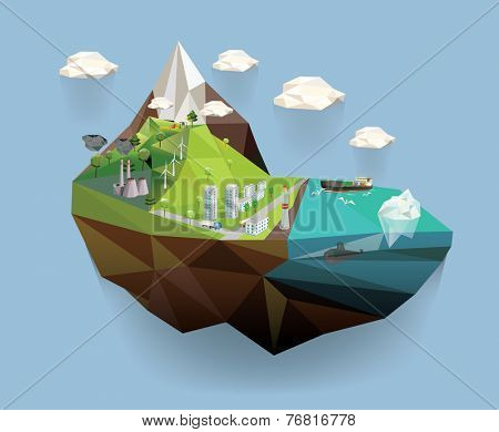 Big island in the sky. Ecology Concept Vector Illustration in polygon style. City Environment.