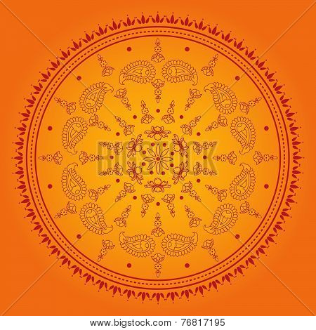 Ornage henna mandala