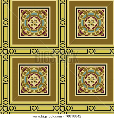 Seamless vintage ornamental tile set square