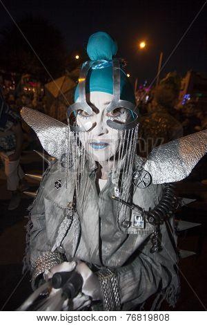 Street Performer In Dia De Los Muertos Procession
