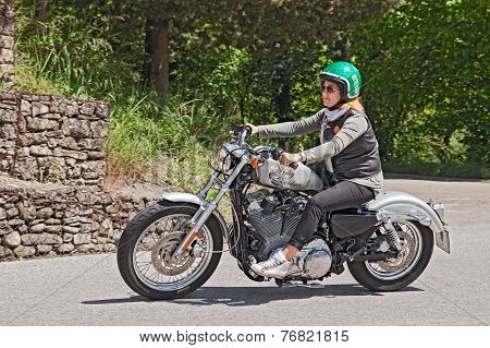 Biker Woman Riding Harley Davidson