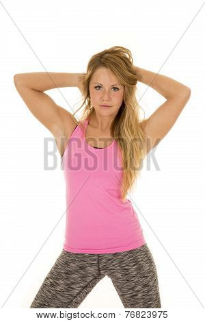 Woman Pink Sports Top Stand Hands In Hair