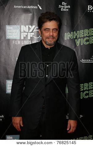 NEW YORK-OCT 4: Actor Benicio del Toro attends the 'Inherent Vice' Centerpiece Gala Presentation & World Premiere at the New York Film Festival at Alice Tully Hall on October 4, 2014 in New York City.