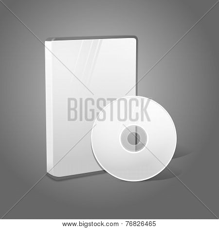 White realistic isolated DVD, CD, Blue-Ray case with disk on grey background. With place for your te