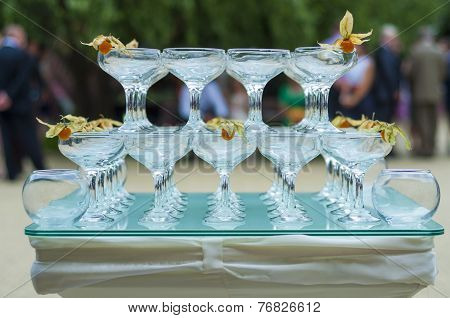 pyramid of glasses on a cocktail table