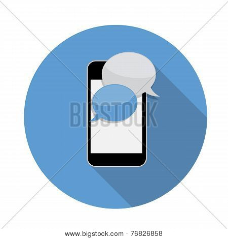 Abstract Design Flat Mobile Phone with Speech Bubbles. Vector Il