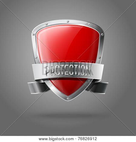 Blank red realistic glossy protection shield with silver ribbon and border isolated on grey backgrou
