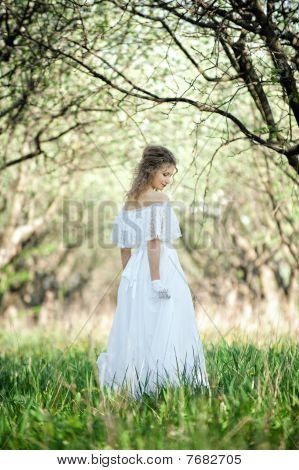 Beautiful Blonde In White Dress