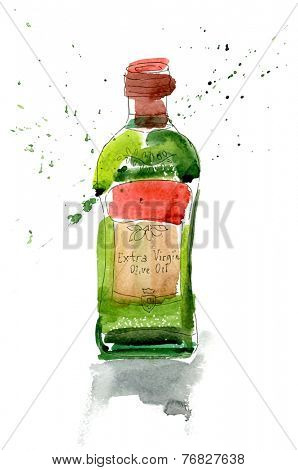 A watercolor bottle of olive oil on white background