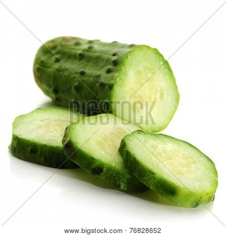 Close-up image of a cucumber studio isolated on white background