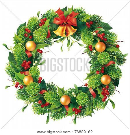 Christmas round wreath on white. Vector eps 10.