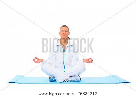 A lotus position in practise of yoga - on white background