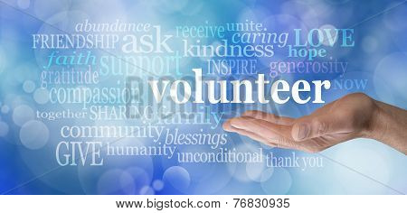 Volunteers needed hand gesture on blue bokeh