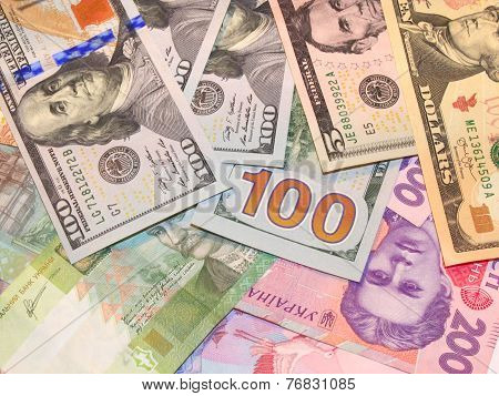 American Dollars And Grivnas Bank Notes