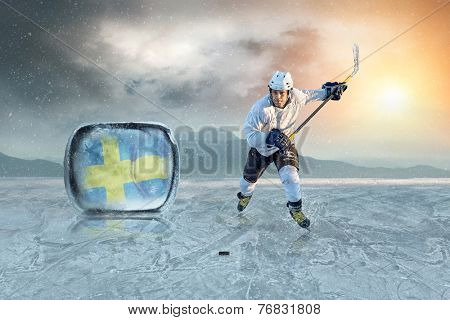Ice hockey player on the ice. Sweden national team.