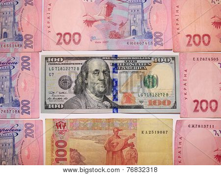 Dollar Deletion By Value Of 100 And Grivnas Bank Notes