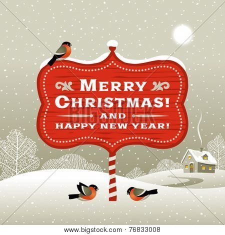 Christmas signboard and winter landscape. Editable vector with clipping mask.