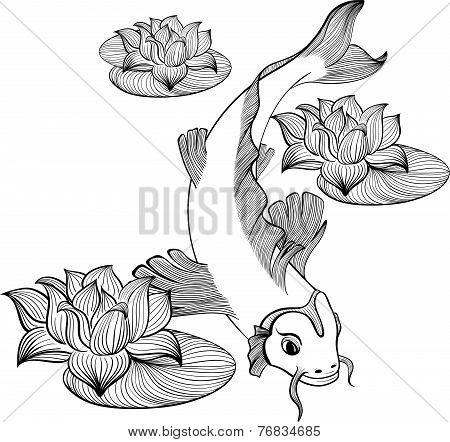 Koi Fish With Three Flowers