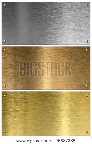 Golden, silver and copper metal plates set isolated