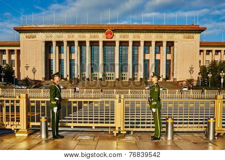 Beijing , China - September 24, 2014: chinese soldiers in front of the National People's Congress Beijin China