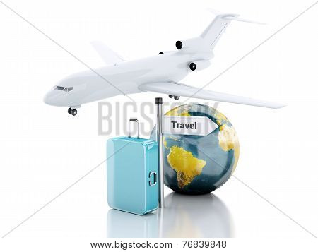 3d travel suitcase and world globe. travel concept
