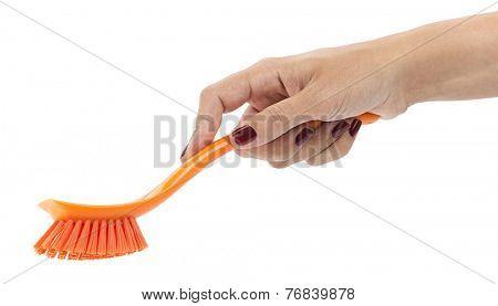 Woman hand holding orange dishwashing brush isolated on white background.