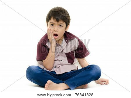 Little Boy Pain His Teeth On White Background