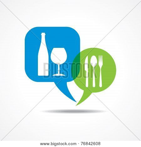 Restaurant forks and wine glasses in message bubble stock vector
