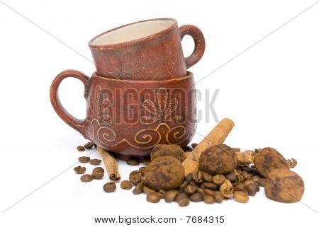 Two Cups For Coffee And Coffee Beans