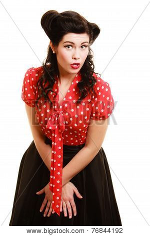 Retro. Surprised Scared Pinup Girl Woman