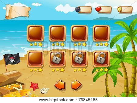 Gaming icons for beach themed game