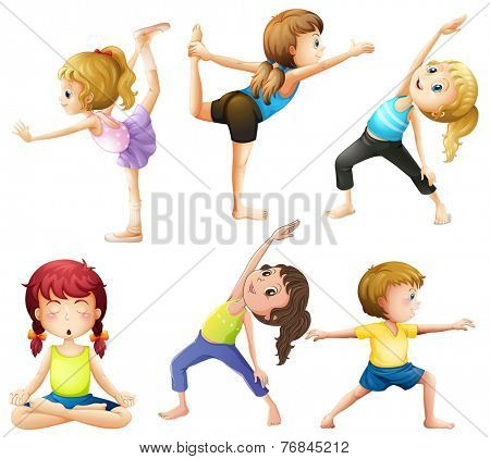 Female practicing poses of yoga