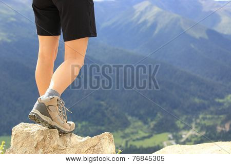 hiking woman on mountain peak of tibet,china