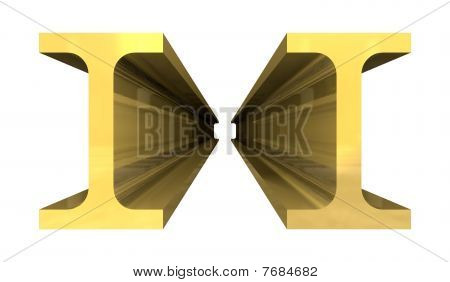 Capple Of Gold Steel Girder Isolated On White Background - 3D