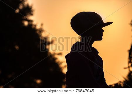 Girl Sunset Silhouetted