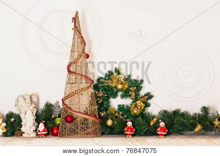 decorative fireplace and tree