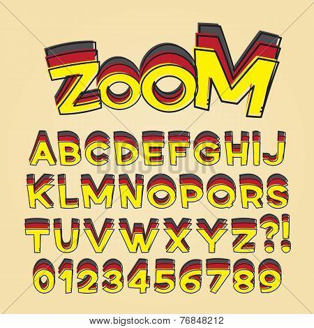 Comic Pop Art Alphabet And Numbers, Editable Eps10 Vector